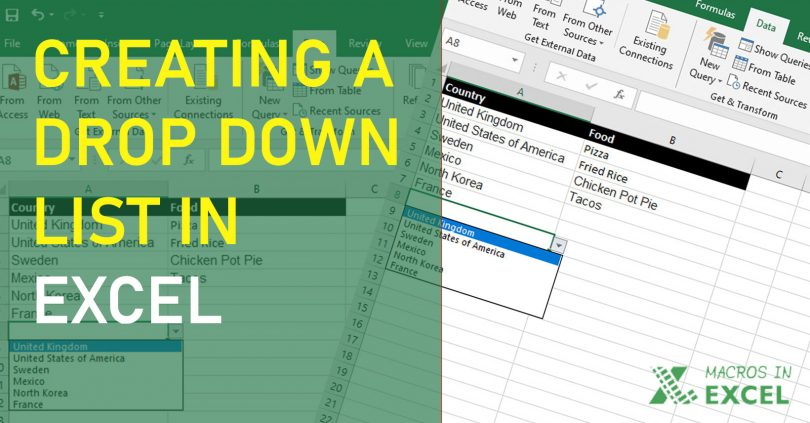 Creating a drop down list in Excel