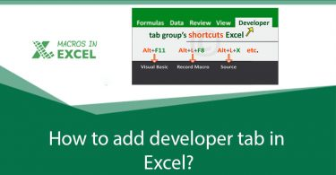 How to add developer tab in excel?