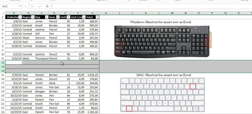 Shortcut to add row in Excel