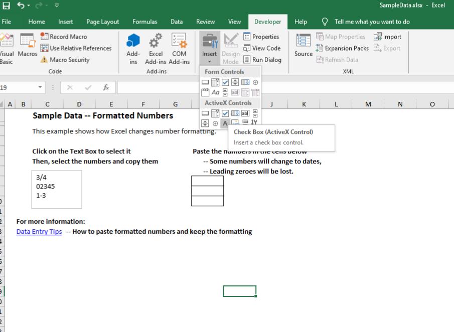 Insert checkbox in Excel 2016