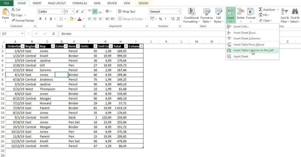 Second method to add a column in Excel