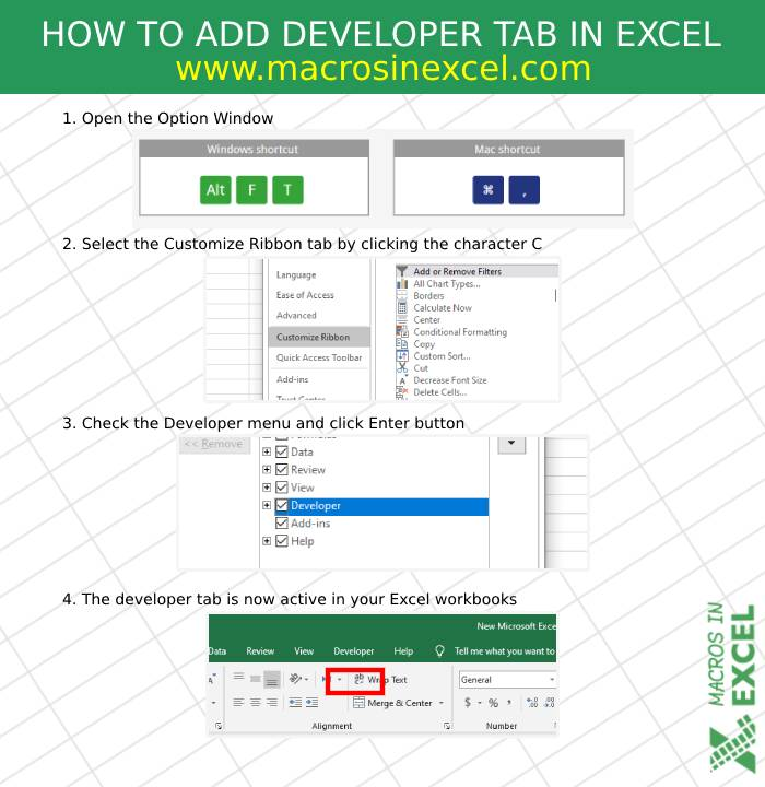 Developer tab in Excel with shortcut