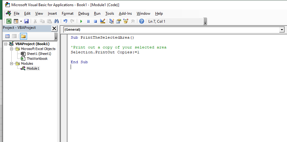 VBA Code Excel Macro Print Selected Area