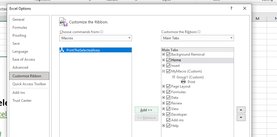 Add Custom Group and A MAcro Button